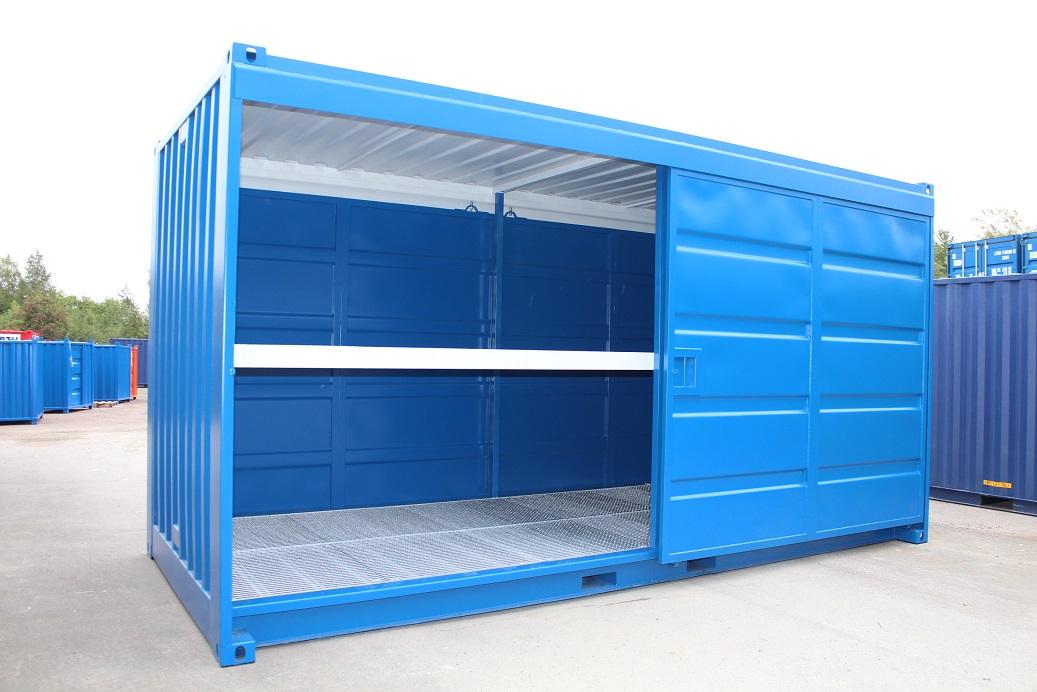 20ft Miljöcontainer OS skjutdörrar båda långsidor + mp